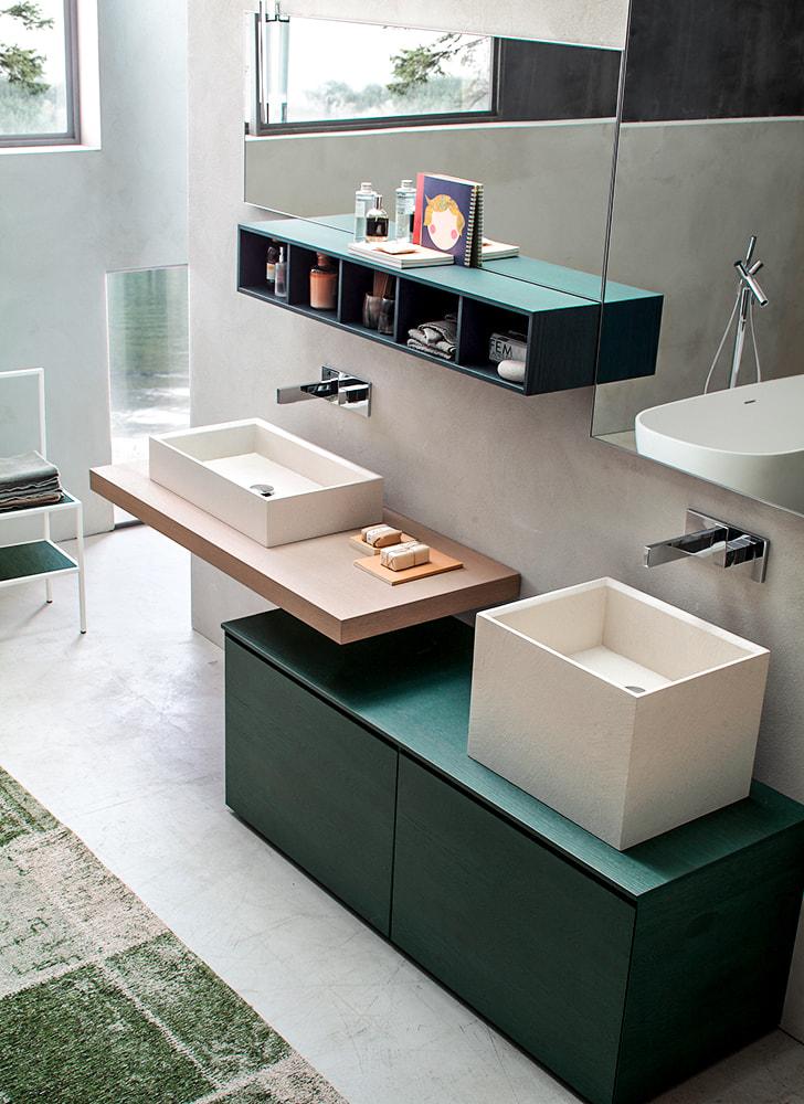 Doppio lavabo verde